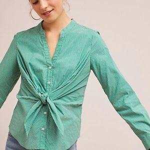 MAEVE Striped Green Tie Front Button-down Shirt